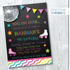 Roller Skating Birthday Party Invitation for by OneFiveDesigns
