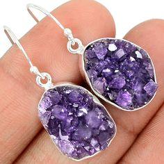 Amethyst Druzy 925 Sterling Silver Earrings Jewelry AMDE96
