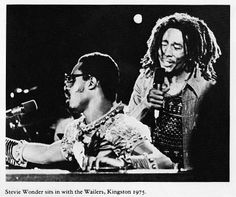 Stevie Wonder with Bob Marley and The Wailers in Kingston, Jamaica 1975. The Wonder Dream Concert.