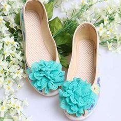 Peep-Toe Corsage Accent Floral Flats from #YesStyle <3 Pangmama YesStyle.com