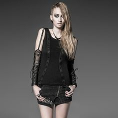 Punk Vest with Oversleeve for Women Steam Punk Black Oversleeve Tank Tops Spring Summer Female Vest Tank