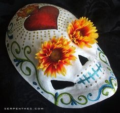 Sacred Heart Dia de los Muertos hand painted mask by serpentes, $45.00