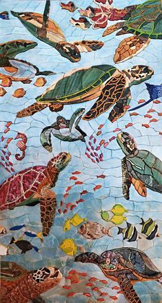 Contemplate this beautiful Mosaic pattern illustrating with petal marble tiles sea turtles and fish. Craft a welcoming mosaic art tile backsplash in your bathroom or distinctively beautiful outdoor tile art. Handmade from natural stone this mosaic design makes stylish pool art too. Available in custom sizes. Explore our mosaic gallery and buy your favorite mosaic patterns for your swimming pool or bathroom. Mosaic Uses: Floors Walls or Tabletops both Indoor or Outdoor as well as wet places…