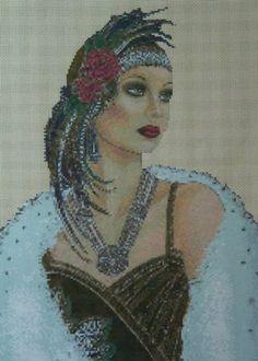 Cross Stitch Chart Art Deco Lady in Black Dress and White Cape No 3VB 5   eBay