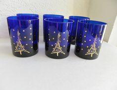 Cobalt Blue Gold Culver Christmas Tree Rocks by Halfmoonblues, $75.00