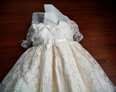 Lauren Lace Christening gown set Baptism Gown Handcrafted