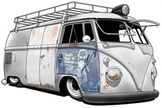 split rat's Volkswagen Bus, Vw T1, Vw Camper, Combi T2, Bus Cartoon, Bus Art, Kombi Home, Vw Classic, Vw Vintage