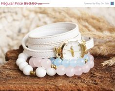 Fall Sale Set of 3 Bracelets with White Wrap Watch by ByLEXY