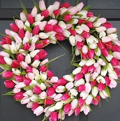 Elegant Holidays Handmade Pink/White Silk Tulip Wreath- Decorative Home Décor for Indoor/ Outdoor- Welcome Guests in Spring, Summer with Front Door Wreaths- Great Easter Holiday Accent- 16-24 inches