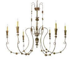 Old World style six arm chandelier