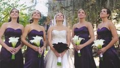I like the idea of the bride having purple flowers and the bridesmaids having white....and the fact that they're calla lilies makes it even better! Wedding Notes, Wedding Film, Wedding Book, Our Wedding, Wedding Stuff, Wedding People, Wedding 2015, Wedding Album, Wedding Ceremony