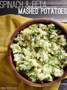 Add a little something special to your mashed potatoes this Thanksgiving! Spinach and Feta Mashed Potatoes - BudgetBytes.com
