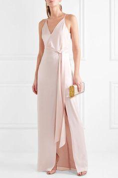 Halston Heritage - Tie-front Satin Gown - Baby pink - US14