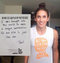 Our World Suicide Prevention Day packs have started making their way to folks all over the world. We are grateful for the support of @YaelAverbuch. Yael is a daughter, a sister, a writer, a friend, and she's also one of the best soccer players in the world. No one else can play her part. #NoOneElse14 #WSPD14 #NSPW14