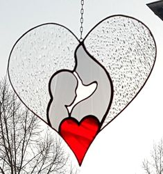Tiffany Window Picture Heart a super Gift for Valentin or image 0 Stained Glass Ornaments, Stained Glass Christmas, Stained Glass Flowers, Stained Glass Suncatchers, Stained Glass Designs, Stained Glass Projects, Stained Glass Patterns, Stained Glass Art, Mosaic Glass
