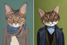 Cats In Clothes was born when Heather Mattoon decided to paint her oh-so-sassy cat in a stylish trench coat. Each of these felines, sporting outfits that define their individual personalities, are adorable and hilarious.