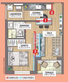Parede derrubada dá lugar ao guarda-roupas do chão ao teto que divide quarto e sala.