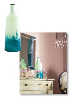 The feeling of the Ethereal trend is soothing and spiritual, and room accents should speak the same gentle language. This vase stirs thoughts of tumbling deep #blue waves and gossamer #green sea foam. #design #decor #color