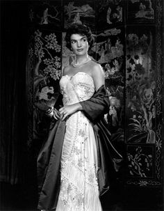 """Jacqueline Kennedy by Yousuf Karsh,1957. """"Widowhood and adversity had not yet touched the glamorous young wife of the handsome Senator from Massachusetts. Our meeting was at Hammersmith, her mother's home in Newport. I photographed her against a Coromandel screen that complemented her dark beauty. Weeks later, in New York, she saw me walking down Fifth Avenue and rushed toward me to inquire breathlessly about her photographs."""" Jacqueline Kennedy Onassis, John Kennedy, Jackie Kennedy Style, Jaqueline Kennedy, Les Kennedy, Carolyn Bessette Kennedy, Jacklyn Kennedy, Kennedy Wife, Grace Kelly"""