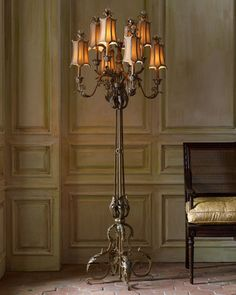 I had this in Florida. Even more beautiful in person. I miss that lamp. Venetian-Style Floor Lamp by John-Richard Collection at Horchow. Diy Floor Lamp, Modern Floor Lamps, Modern Lighting, Antique Floor Lamps, Rustic Lighting, Vintage Lighting, Chandelier Lamp, Chandeliers, Pendant Lamps