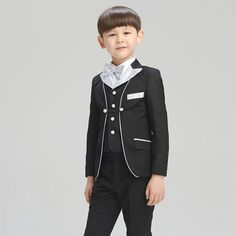 H1041 Children Black Noble Formal Blazer Prom Show Wedding Boys Suits 4pcs Leisure Jacket Set Kids Clothes by HHCbridal on Etsy