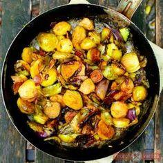 Baconos kelbimbó hagymával - köretnek, de akár főételnek sem utolsó! http://www.receptvarazs.hu/receptek/recept/baconos_kelbimbo_hagymaval_recept