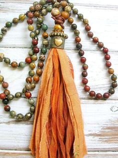Tassel necklace - Canyon - Boho jewelry, love heart pendant necklace, autumn fall earthy, sari silk, knotted long necklace, southwestern