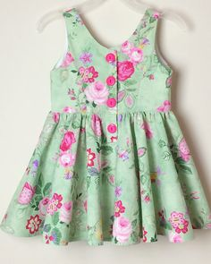 Floral Dress for Girls size 3 green/pink roses