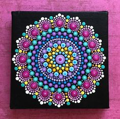 Mandala Painting on Black... Pins, Teal, Yellow, Blue, Fuschia...