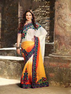 Plushy Deep Orange & White Embroidered Saree | StylishKart.com