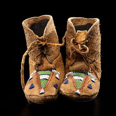 Crow Child's Beaded Hide Boot Moccasins