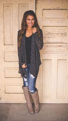 Charcoal Knit Open Cardi - Dottie Couture Boutique