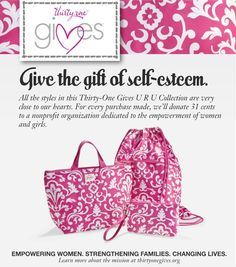 The Thirty One URU Collection!     We believe in Her – women and girls. We embrace Her inner beauty and celebrate Her natural gifts. It is our mission to celebrate and empower Her, helping to strengthen Her belief in herself, strengthen Her family, and to lead a purposeful, thriving life. With every purchase from the U R U Collection, 31 cents will be donated to support the empowerment of women and girls. Learn more at mythirtyone.com/80749