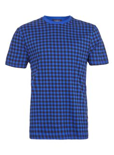 BLUE AND BLACK CHECK T-SHIRT