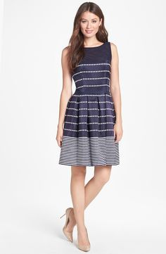 Taylor Dresses Polka Dot Stripe Fit & Flare Dress