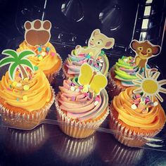 Lion King Cupcakes- I could also do a swirl of colors to make it more colorful and fun $1.75 each if you handle the artwork and sticks. $2.75 for me to do it all.