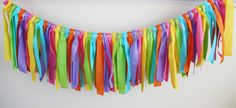 Rainbow Rag Tie Garland, 1st Birthday Banner, Highchair Banner, Hawaiian Luau highchair banner, Art Party, Oh the Places You'll Go Party by MyLittleBoobug on Etsy https://www.etsy.com/listing/222837425/rainbow-rag-tie-garland-1st-birthday