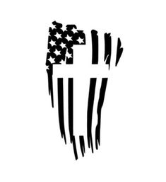 Details about American Flag Cross Sticker Decal Black Die