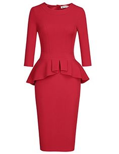 online shopping for MUXXN Women's Crew Neck Peplum Knee Length Party Pencil Dress from top store. See new offer for MUXXN Women's Crew Neck Peplum Knee Length Party Pencil Dress Red Peplum Dresses, Women's Dresses, Plus Size Maxi Dresses, Pretty Dresses, Short Sleeve Dresses, Dresses For Work, Dress Red, Dress Black, Bodycon Dress