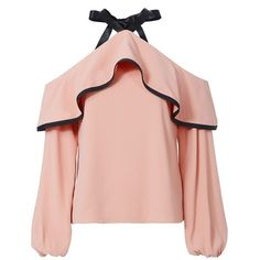 Alexis Women's Malia Cold Shoulder Blouse found on Polyvore featuring tops, blouses, miscellaenous tops, miscellaneous tops, pink, cut out shoulder top, open shoulder blouse, peasant tops, open shoulder top and spaghetti-strap tops