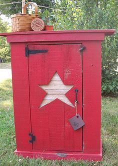 Red Americana Country Cupboard