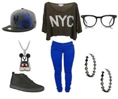 pretty NYC shirt with skater sneakers and blue leggings, nerdy glasses, mickey necklace, and loose bracelets
