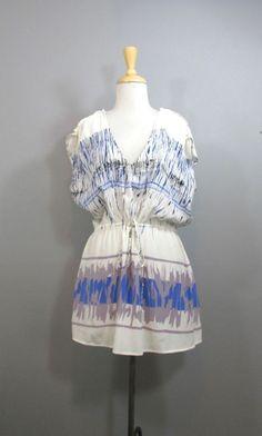LANGUAGE Anthropologie Cute White Patterned Silk Drawstring Waist Tunic Dress S