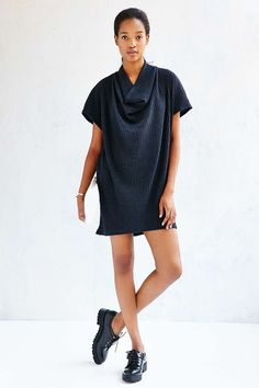 Silence + Noise Ribbed Cowl-Neck Mini Dress - Urban Outfitters