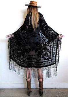 Stevie Nicks inspired...total bohemian babe goodness with a vintage vibe. Black on black velvet burnout with fishnet fringe dripping down the front, all along bottom, and sleeves