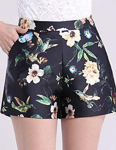 De las mujeres Pantalones Cortos-Casual / Simple Microelástico-Algodón