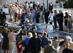 """So here's Burn Notice's Jeffrey Donovan as JFK during today's ""LBJ"" filming in Dealey Plaza"" (11/2/2015)  Photo: courtesy of Robert Wilonsky & http://cityhallblog.dallasnews.com"