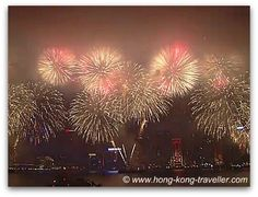 New Year's Fireworks lit up Victoria Harbour
