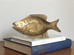 Vintage Brass Fish Tray Dish Rustic Coastal by ModRendition
