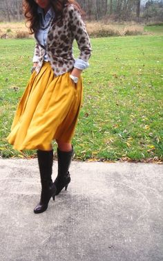 Mustard skirt, chambray button down under leopard cardigan = the perfect fall outfit. Modest Fashion, Love Fashion, Fashion Outfits, Apostolic Fashion, Fashion Ideas, Fall Winter Outfits, Autumn Winter Fashion, Fall Fashion, Spring Outfits